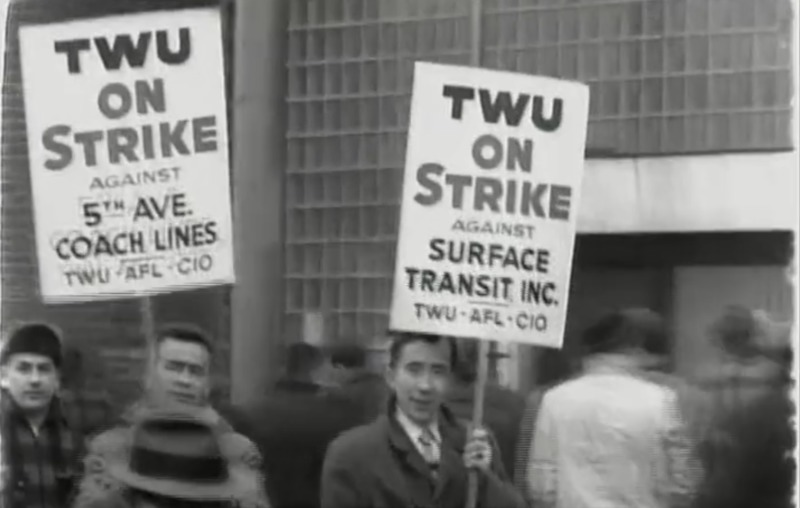 Screenshot from Tamiment Film Archive of strike